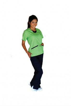 Contrast Jersey Scrub Set Lime Green/Navy Blue