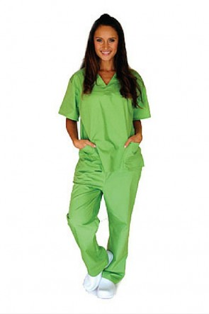Unisex 6 Pocket Solid Scrub Set Lime Green